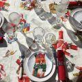 "Tessitura Toscana Telerie, nappe carrée en coton ""Globe Christmas"""