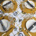 "Tessitura Toscana Telerie, square linen tablecloth ""Golden Jingle"""