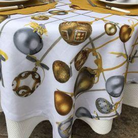 "Tessitura Toscana Telerie, nappe carrée en lin ""Golden jingle"""