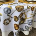 "Tessitura Toscana Telerie, square linen tablecloth ""Golden Jingle"""