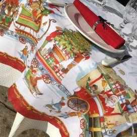 "Tessitura Toscana Telerie, nappe carrée en lin ""Christmas Express"""""
