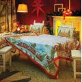 "Tessitura Toscana Telerie, square linen tablecloth ""Christmas Express"""""