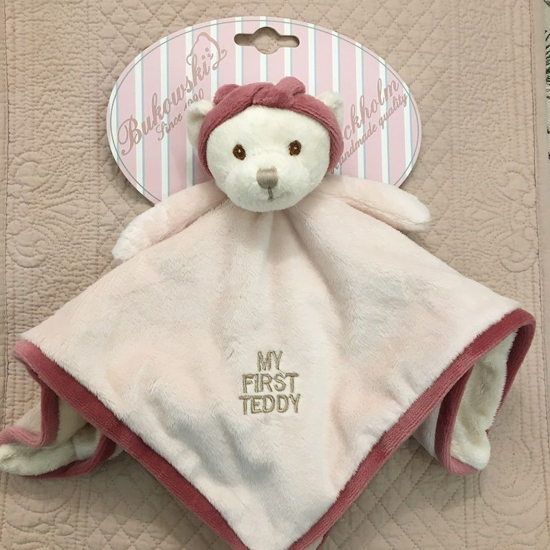 "Peluches Bukowski - Doudou oursonne ""My first Teddy"" rose et blanche"