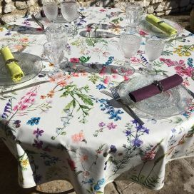 "Round coated cotton tablecloth ""Fortuna"""