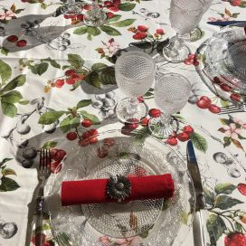 "Round coated cotton tablecloth ""Cerezas"""