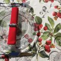 """Round coated cotton tablecloth """"Cerezas"""""""