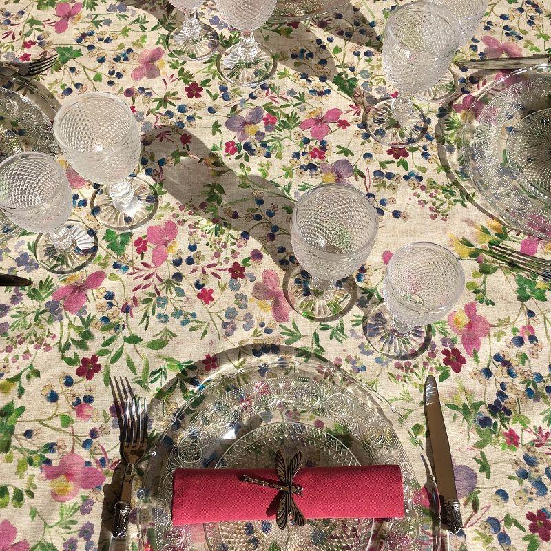 "Rectangular coated cotton tablecloth ""Minerva"""