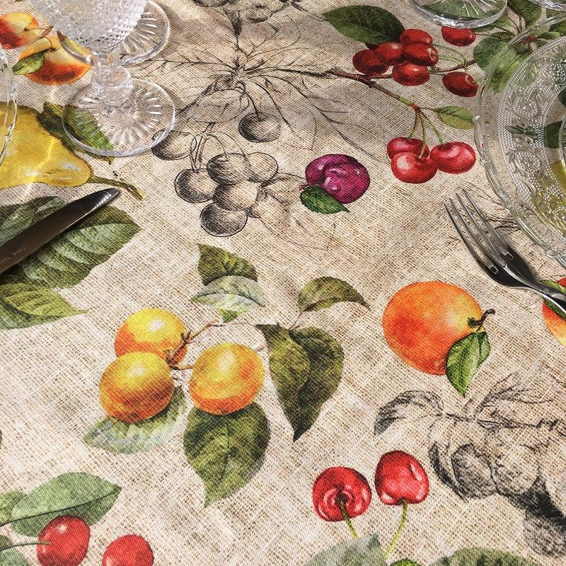 "Rectangular coated cotton tablecloth ""Juno"""