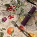 """Round coated cotton tablecloth """"Juno"""""""