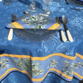 "Square damask Jacquard tablecloth  : Delft blue, bordure ""Clos des Oliviers"" blue"