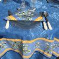 """Square damask Jacquard tablecloth  : Delft blue, bordure """"Clos des Oliviers"""" blue"""