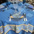 """Nappe carrée damassée Delft bleue, bordée """"Clos des Oliviers"""" bleu"""