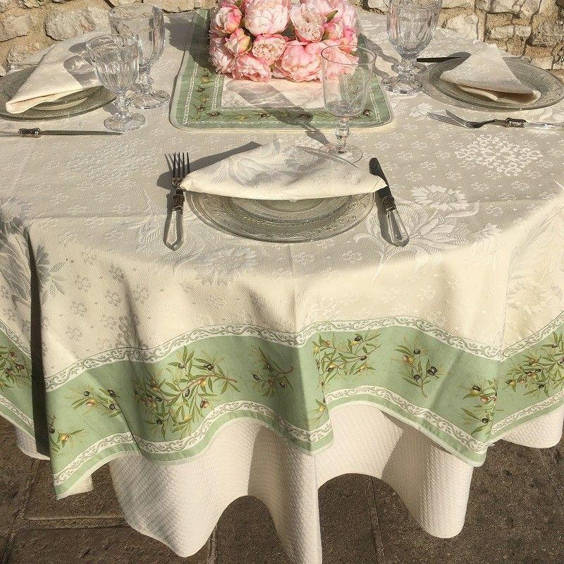 """Square Jacquard tablecloth Delft, bordure """"Clos des Oliviers"""" green"""