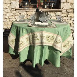 "Square damask Jacquard tablecloth Delft green, bordure ""Clos des Oliviers"" ecru"
