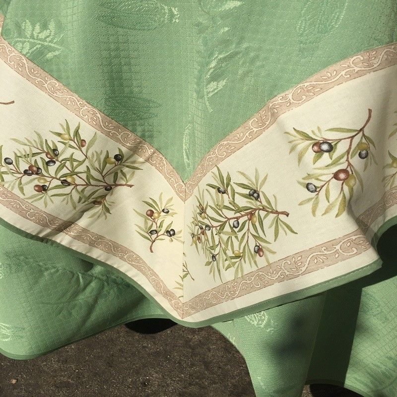"Square damask jacquard tablecloth Delft green, bordure ""Clos des Oliviers"" ecru"