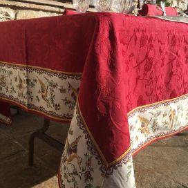 """Nappe carrée damassée Jacquard Delft rouge, bordée """"Moustiers"""" rose"""