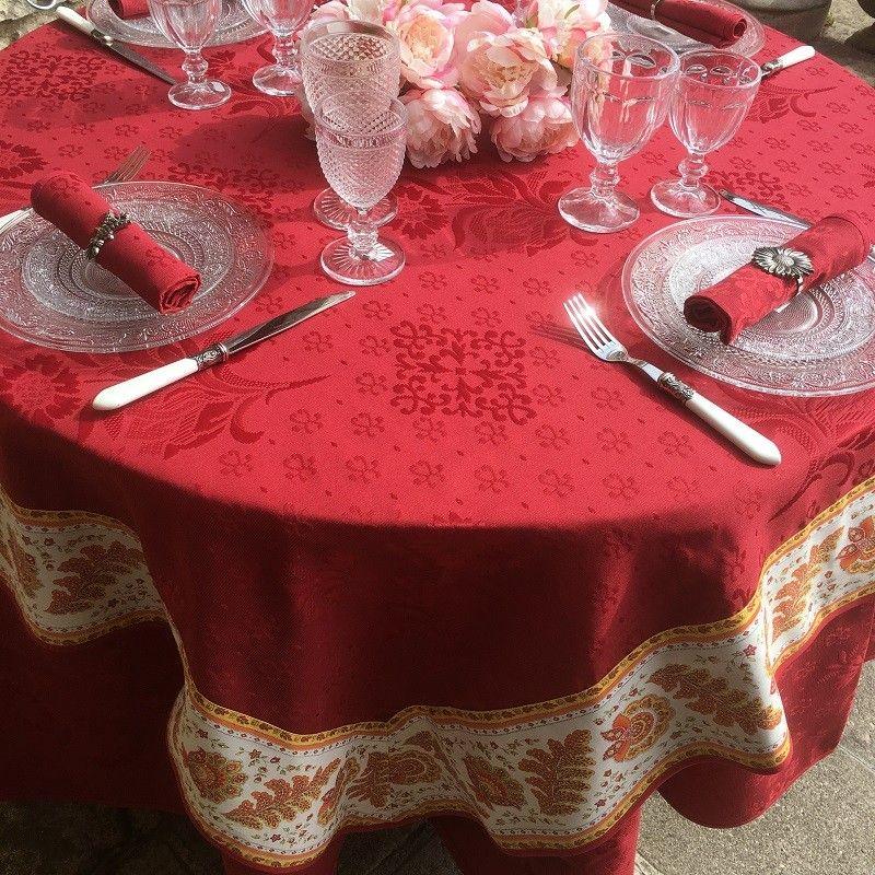 "Square damask Jacquard tablecloth Delft red, bordure ""Mirabeau"" Orange"