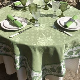 "Square damask Jacquard tablecloth  : Delft green, bordure ""Mirabeau"" green"