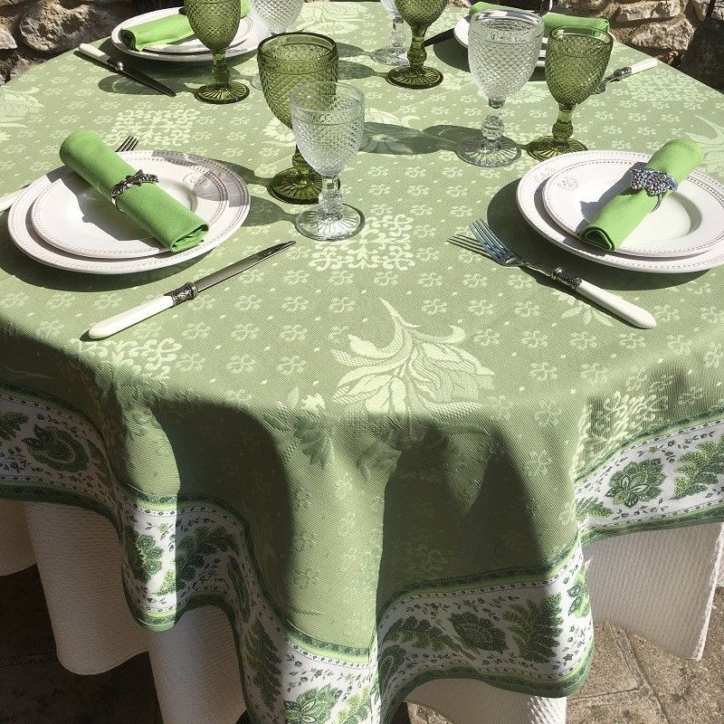 "Square Jacquard tablecloth Delft green, bordure ""Mirabeau"" green"