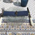 """Nappe carrée Jacquard """"Mazan"""" jaune et bleue, Tissus Toselli"""