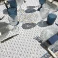 """Square Jacquard tablecloth """"Mazan""""  yellow and blue by Tissus Toselli"""