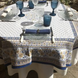 "Square Jacquard tablecloth  ""Mazan"" yellow and blue by Tissus Toselli"
