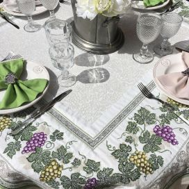 "Square Jacquard tablecloth grapes ""Vignobles"" by Tissus Toselli"
