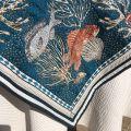 "Square Jacquard tablecloth ""Bonifaccio"" blue Tissus Toselli"