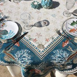 "Nappe carrée Jacquard ""Bonifaccio"" bleue Tissus Toselli"