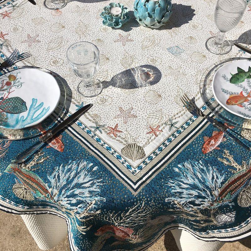 "Nappe carrée Jacquard ""Bonifaccio"" bleue Tissus Tosseli"