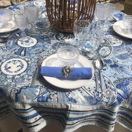 """Nappe carrée Jacquard """"Sensha"""" bleue et écru Tissus Toselli"""