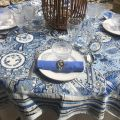"Square Jacquard tablecloth  ""Sensha"" blue and ecru by Tissus Toselli"