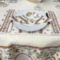 "Rectangular damask Jacquard tablecloth Delft ecru, bordure ""Moustiers"" red"