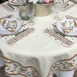 "Rectangular damask Jacquard Tablecloth Delft ecru, bordure ""Moustiers"" red"