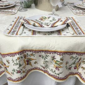 "Square damask Jacquard Tablecloth Delft ecru, bordure ""Moustiers"" red"
