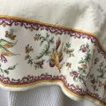 "Square damask Jacquard tablecloth Delft ecru, bordure ""Moustiers"" red"