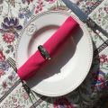 "Square Jacquard tablecloth ""Garance"" fuchsia and blue Tissus Toselli"