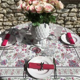 "Square Jacquard tablecloth ""Garance"" fuchsia and blue Tissus Toselli"