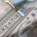 "Square Jacquard tablecloth  ""Seillans"" blue, Tissus Toselli"