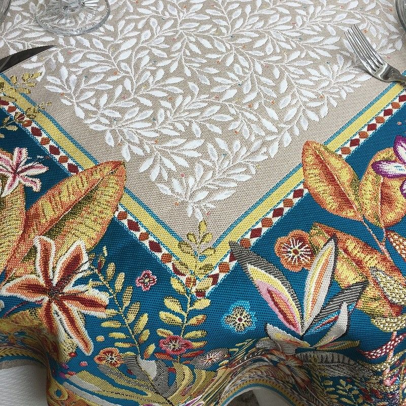 """Square Jacquard tablecloth  """"Porto Rico""""  blue and linen color by Tissus Toselli"""