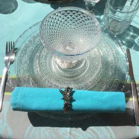 """Serviette de table en coton """"Coucke"""" uni turquoise"""
