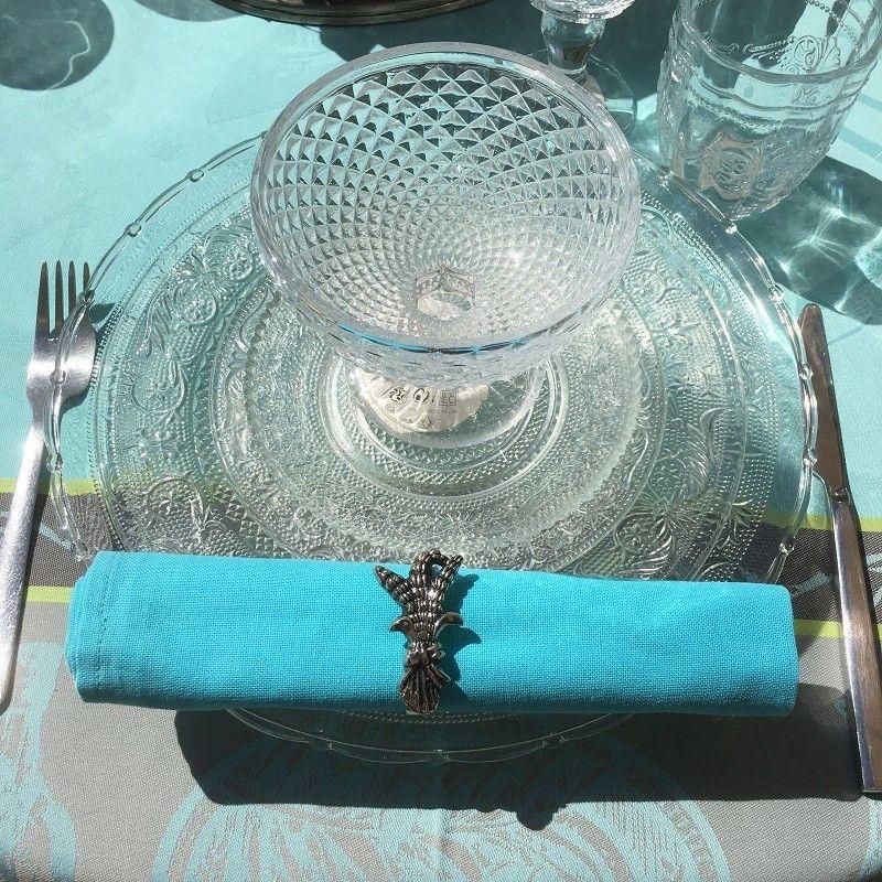 Serviette de table en coton uni turquoise