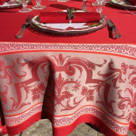 "Nappe rectangulaire Sud Etoffe Jacquard polyester  ""Eygalière"" rouge"