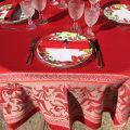 """Nappe rectangulaire Sud Etoffe Jacquard polyester  """"Eygalière"""" rouge"""