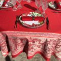 "Square Jacquard polyester tablecloth ""Eygalière"" red by Sud Etoffe"