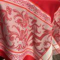 "Nappe carrée Sud Etoffe Jacquard polyester ""Eygalière"" rouge"