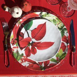 """Michel Design Works, lot de 4 petites assiettes """"Poinsettia"""""""""""
