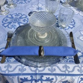 "Cotton table napkin ""Coucke"", plain blue ""Bleu lin"""