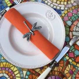 "Serviette de table en coton ""Coucke"" uni mandarine"