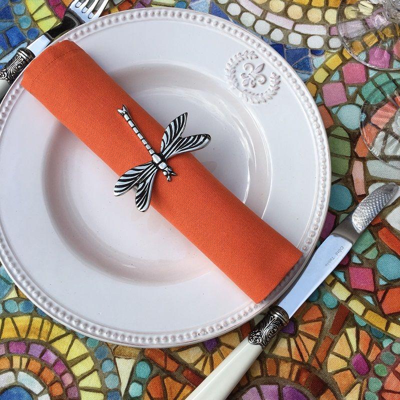 "Serviette de table en coton ""Coucke"", uni mandarine"